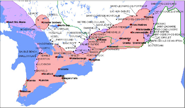 Ontario+quebec+map