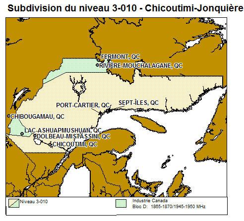 Carte Canada Chicoutimi.Cartes Du Spectre Des Services Des Communications Personnelles Scp